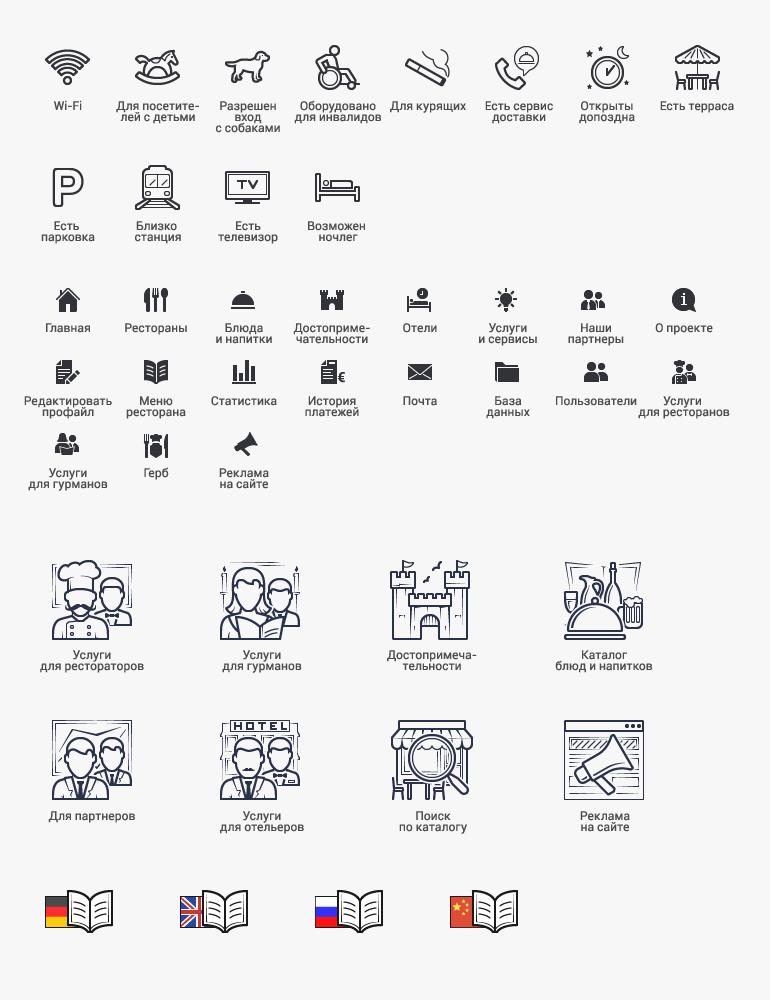 Плоские контурные иконки + с заливкой — рестораны, каталог [40+]