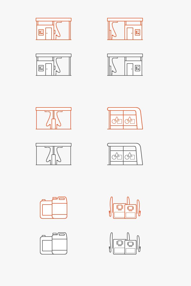 Контурные плоские иконки — оборудование, автомойка [6] + иллюстрации ниже