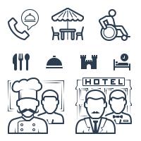 Ресторан, отель, услуги • Линии • Заливка •  40+ шт.