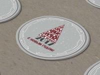 Новогодние этикетки-наклейки для коричневых коробок (хай тек)