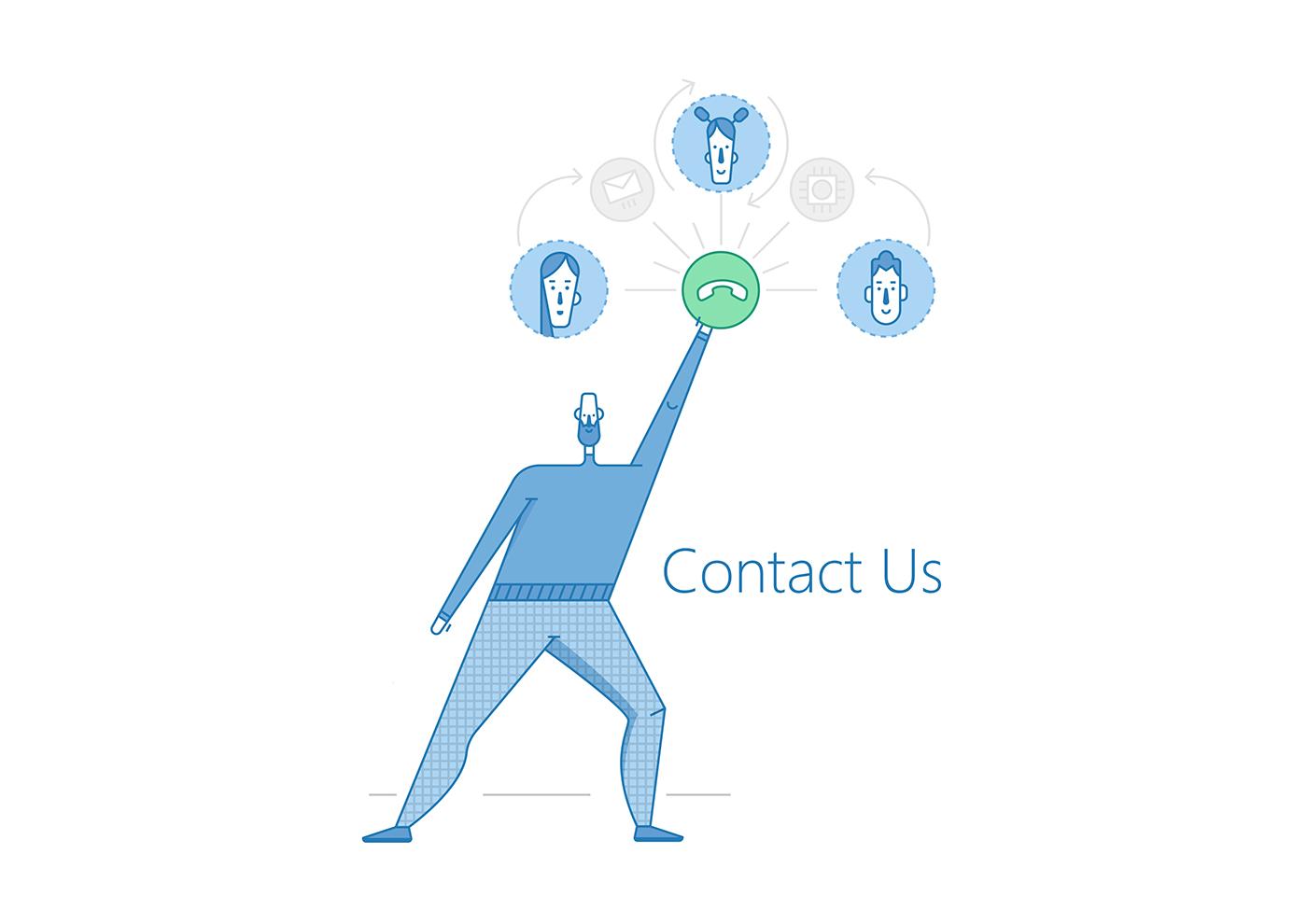 Contact Us (векторная иллюстрация в линейном стиле с элементами flat )