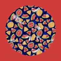 Иллюстрированная обложка пальмами и арбузами.