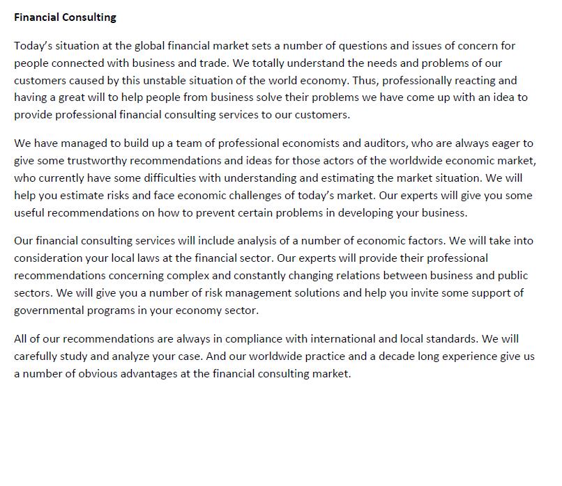 Текст на ENG о финансовом консультировании для раздела сайта
