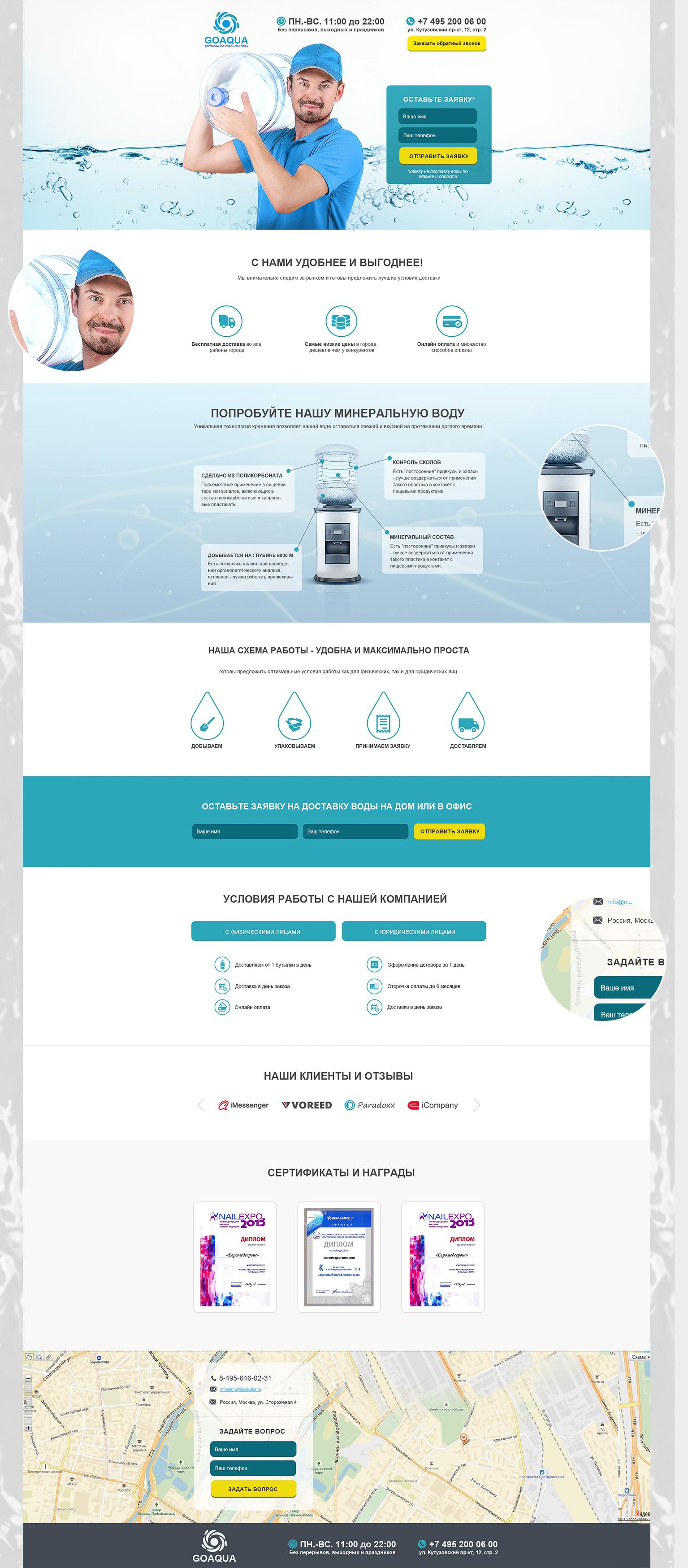 Производство и продажа воды - landing page