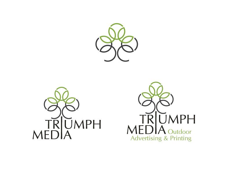 Разработка логотипа  TRIUMPH MEDIA с изображением клевера фото f_506ee1ec0e8c8.jpg