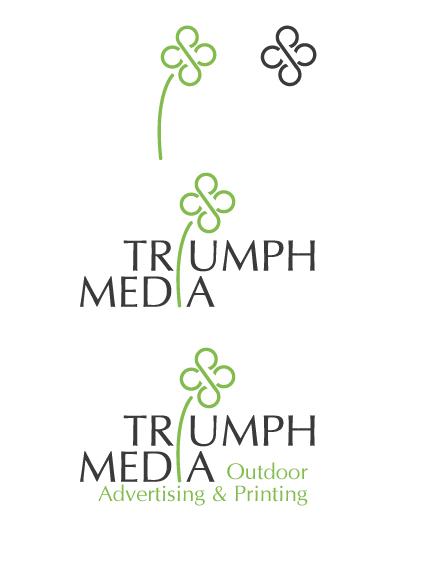 Разработка логотипа  TRIUMPH MEDIA с изображением клевера фото f_506eee614f2e4.jpg