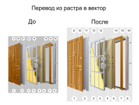 Отрисовка  из растра в вектор (Дверь)
