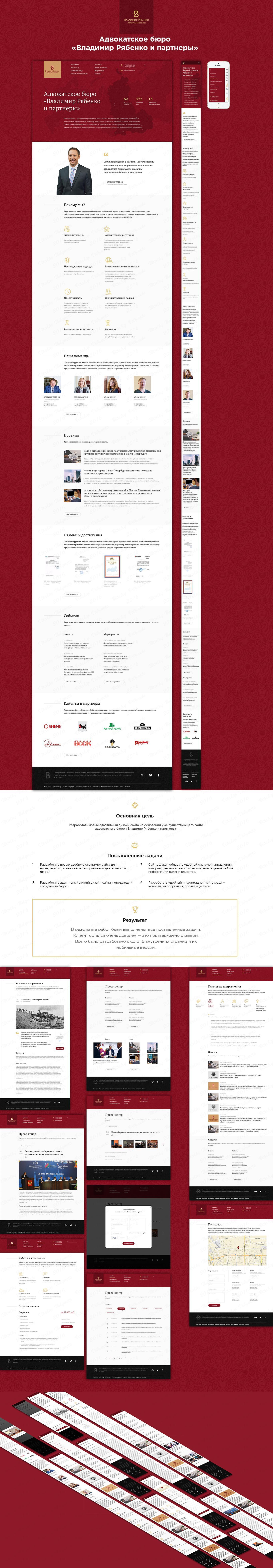Адаптивный дизайн сайта (16 страниц + ui kit) / верстка