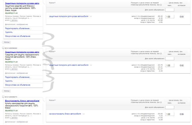 Google Ads и Яндекс Директ | Украина | Автокосметика | Интернет-магазин