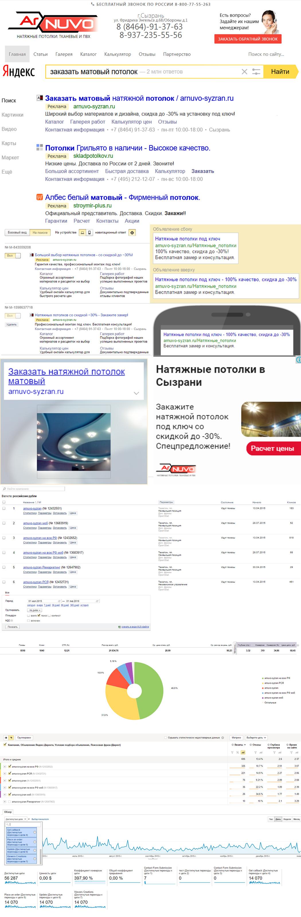 Google Ads и Яндекс Директ   Россия   Натяжные потолки   Производитель