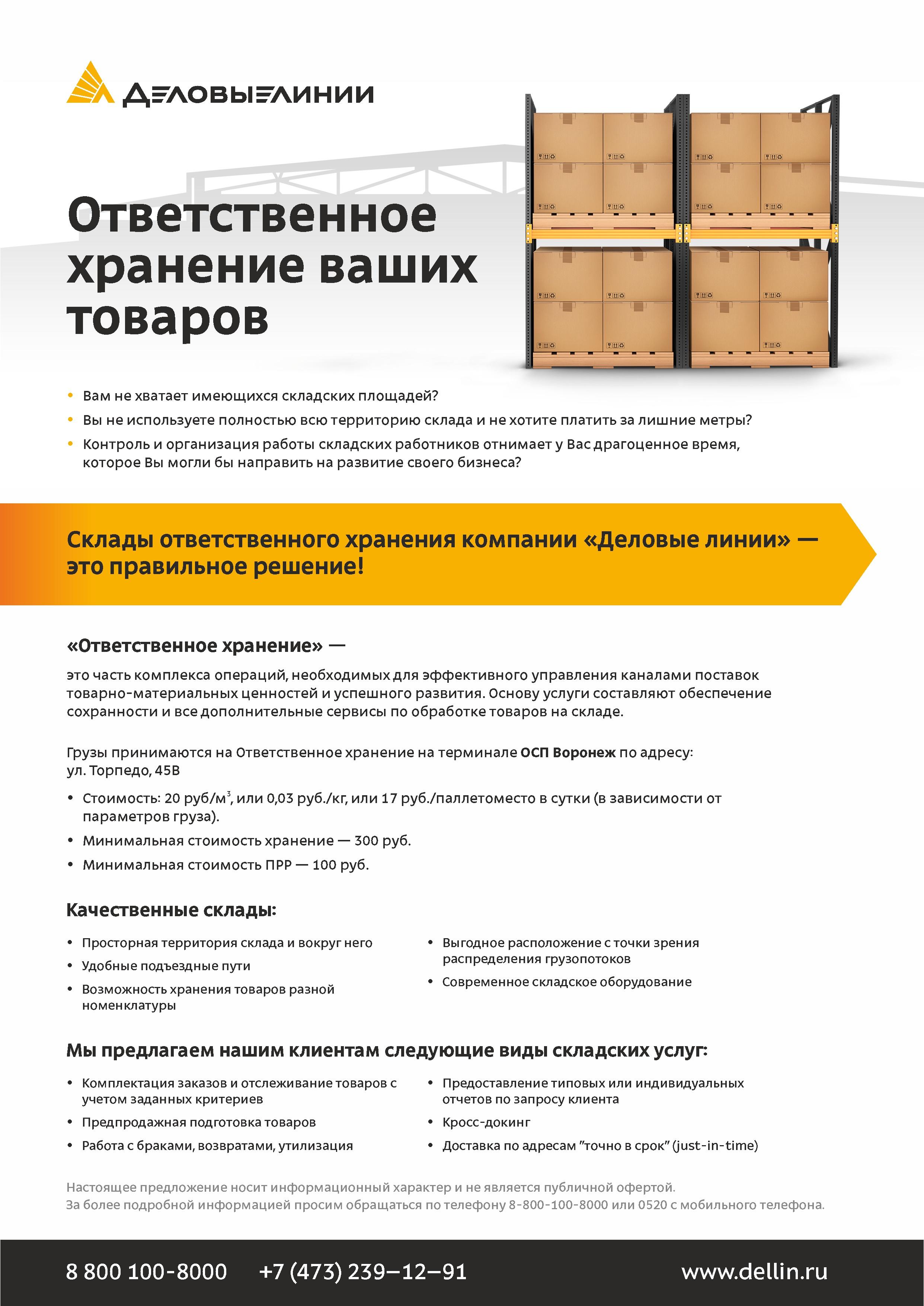 Листовка Деловые Линии «Ответственное хранение ваших товаров»