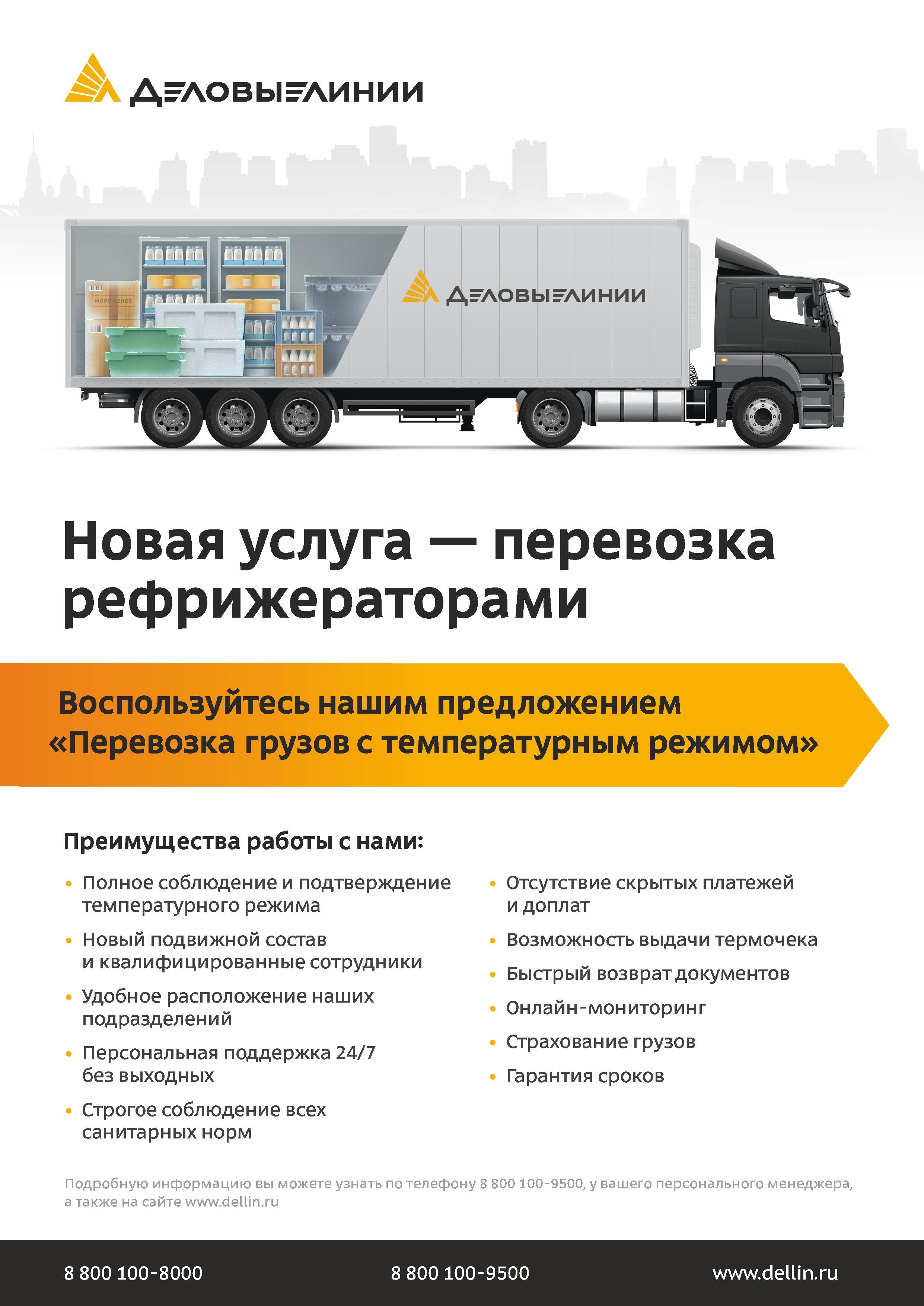 Листовка Деловые Линии «Новая услуга - перевозка рефрижераторами»