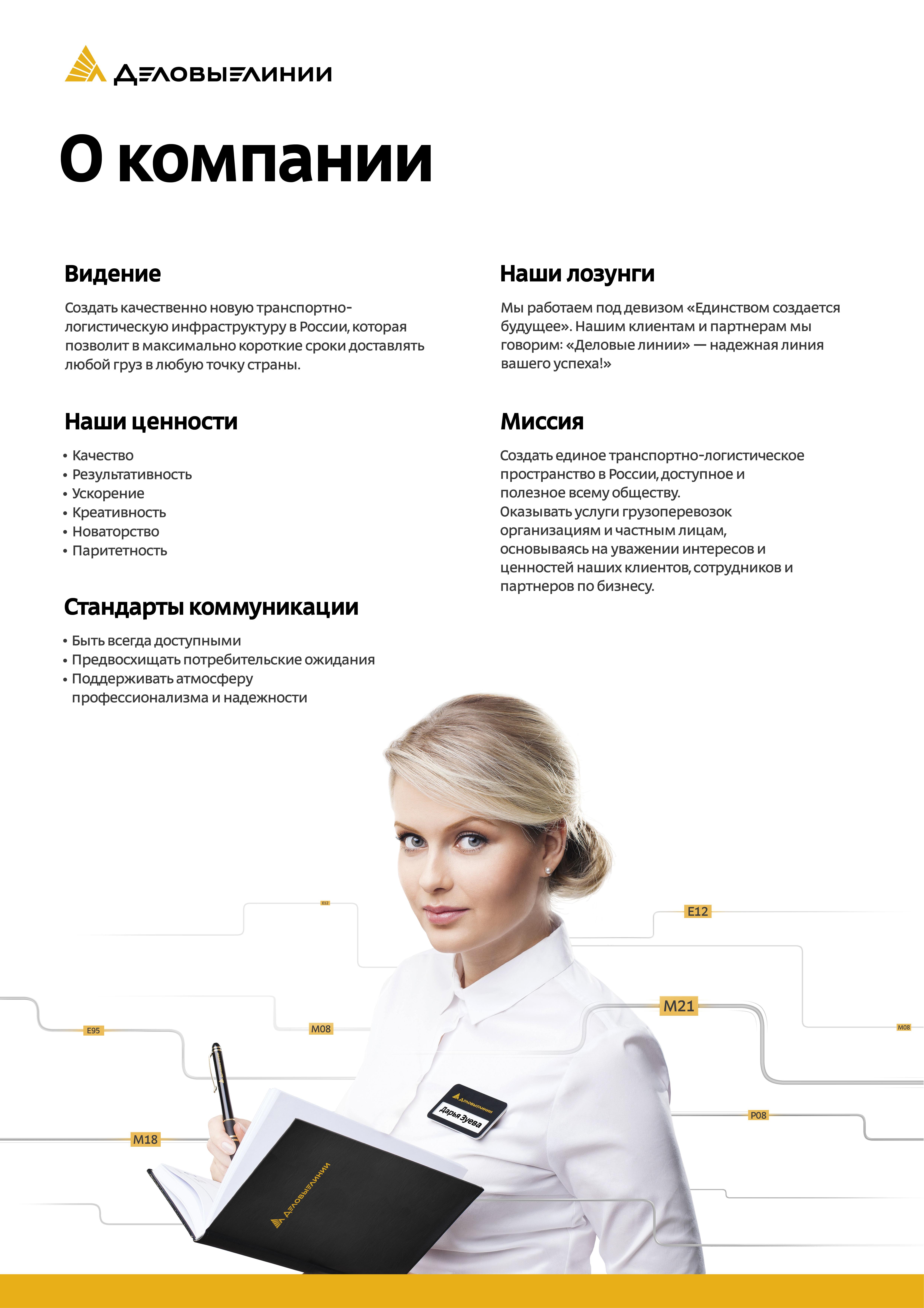 Плакат Деловые Линии «О компании»