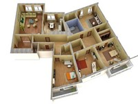 Могу создать 3D модель 3-комнатной квартиры.