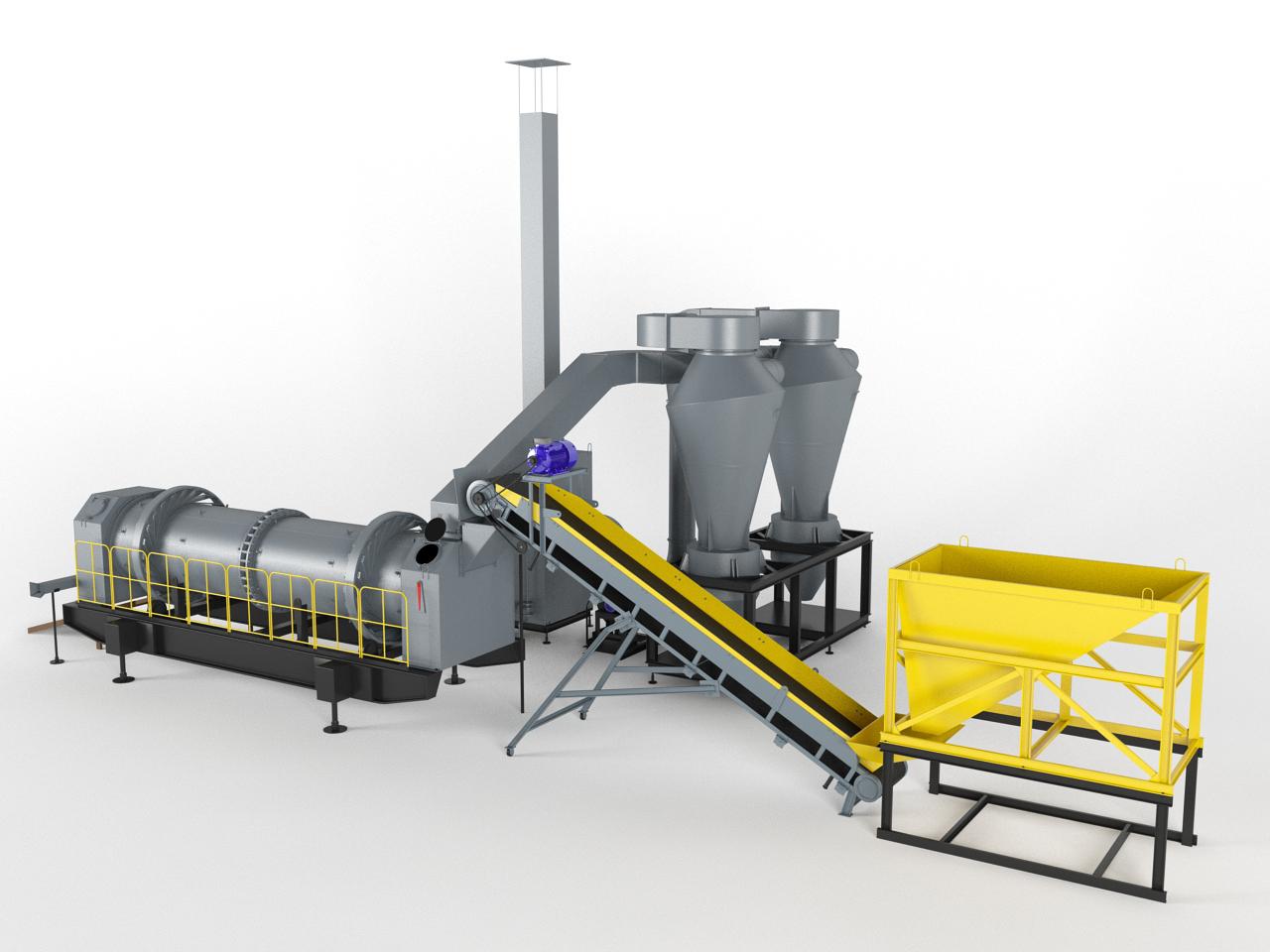 Механизированная линия термической переработки бурового шлама и нефтезагрязненных грунтов