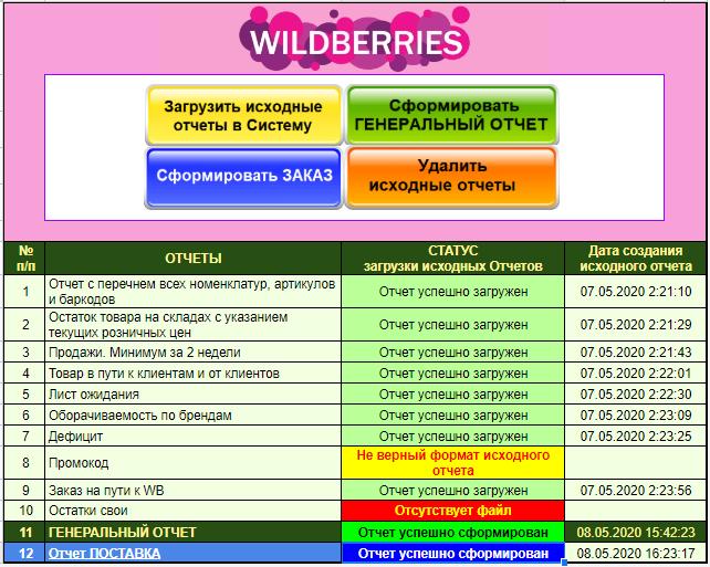 Генератор Генерального отчета - Wildberries