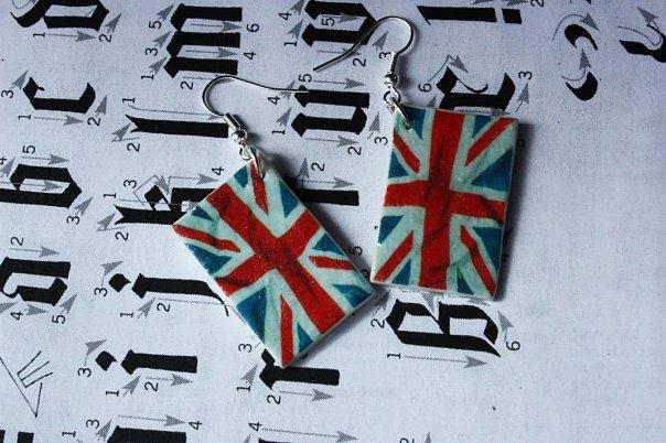 """Серьги  """"британский флаг """".  Kseniya Chagina pumpon91."""