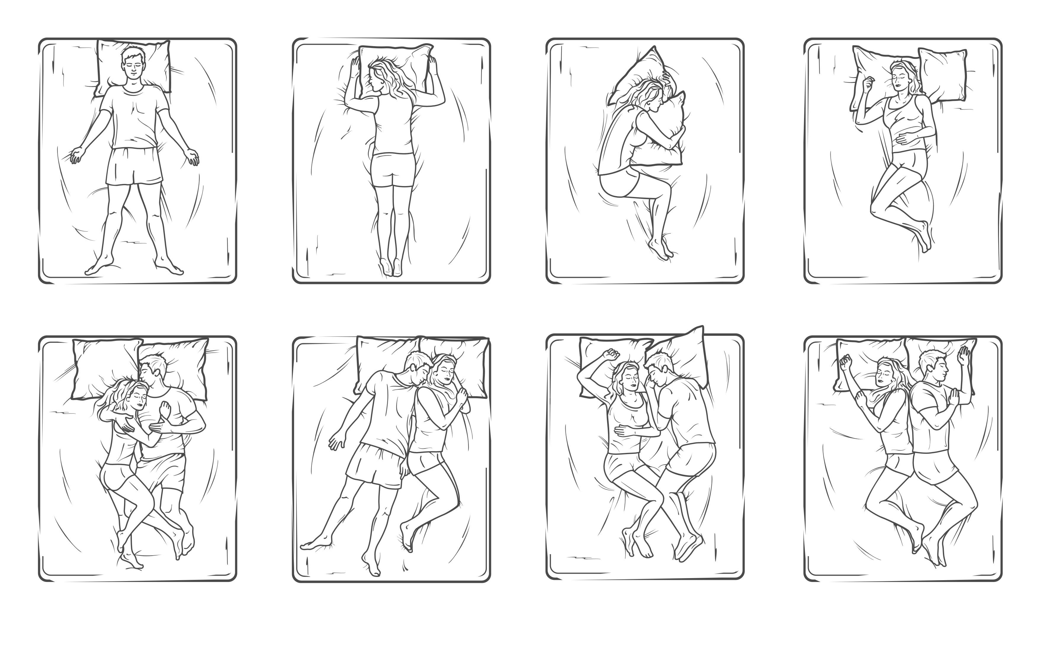 """Контурные иллюстрации """"Позы во время сна"""" (CorelDraw)"""