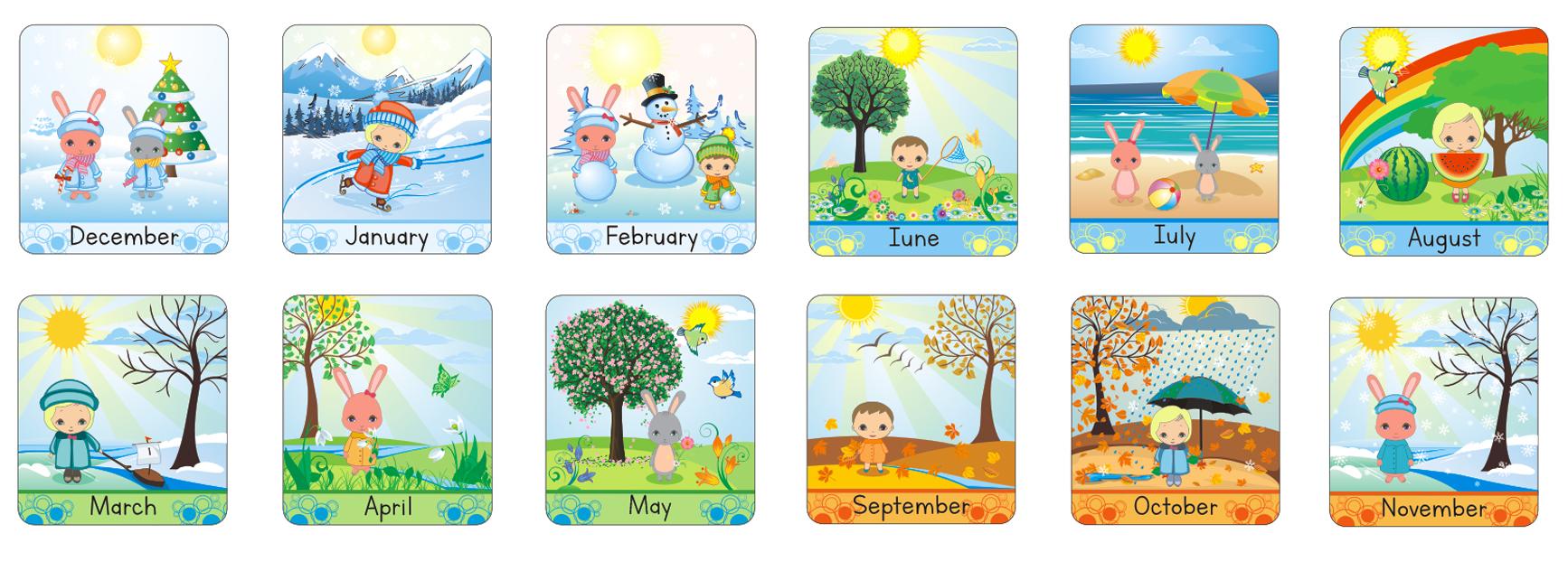 Иллюстрация для детского английского календаря. Месяцы. Вектор. (CorelDraw)