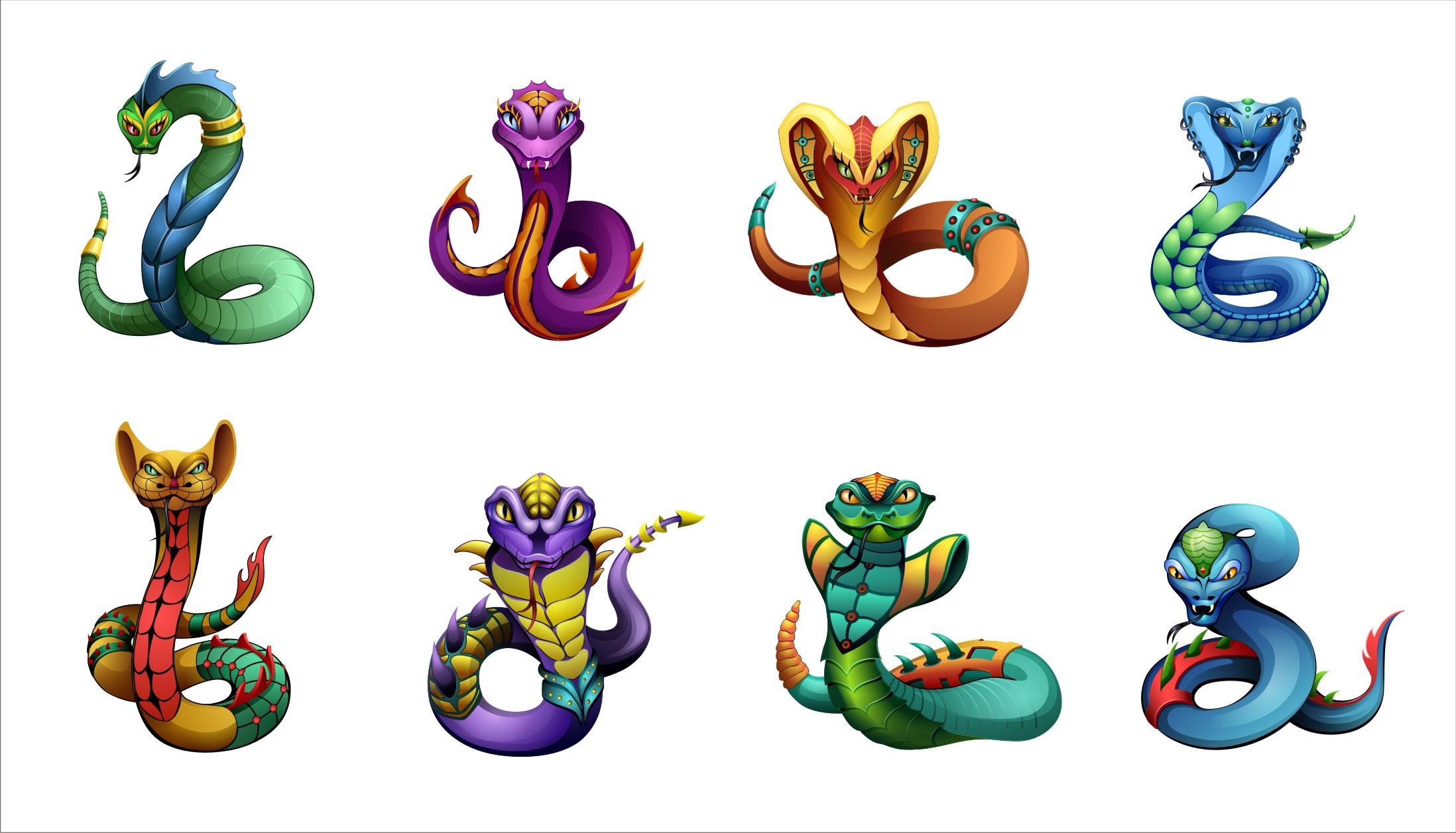 Персонажи Змеи. (вектор)