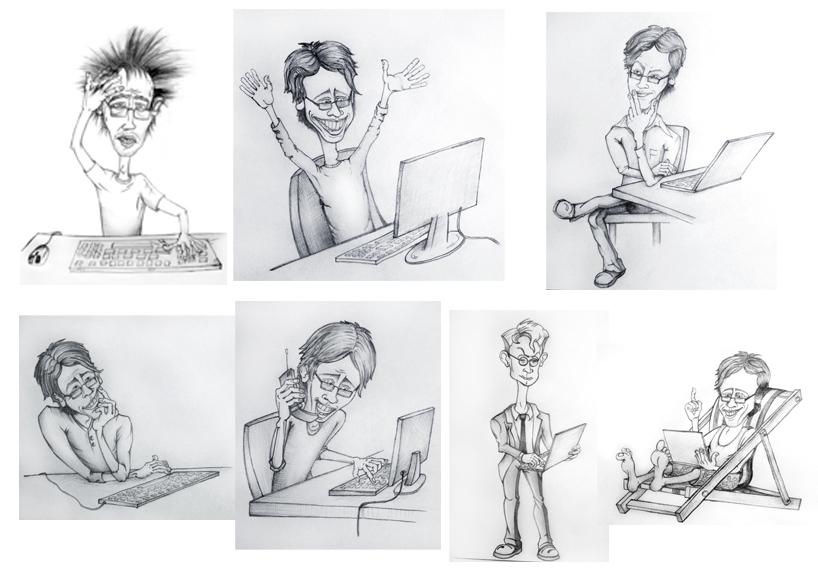 "Шаржи на тему ""Эмоции программиста в процессе работы"" (наброски)"