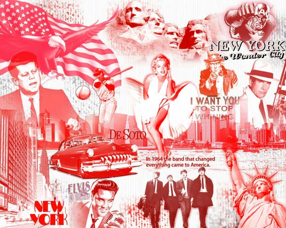 Плакат Америка 60-х  (Photoshop. коллаж)