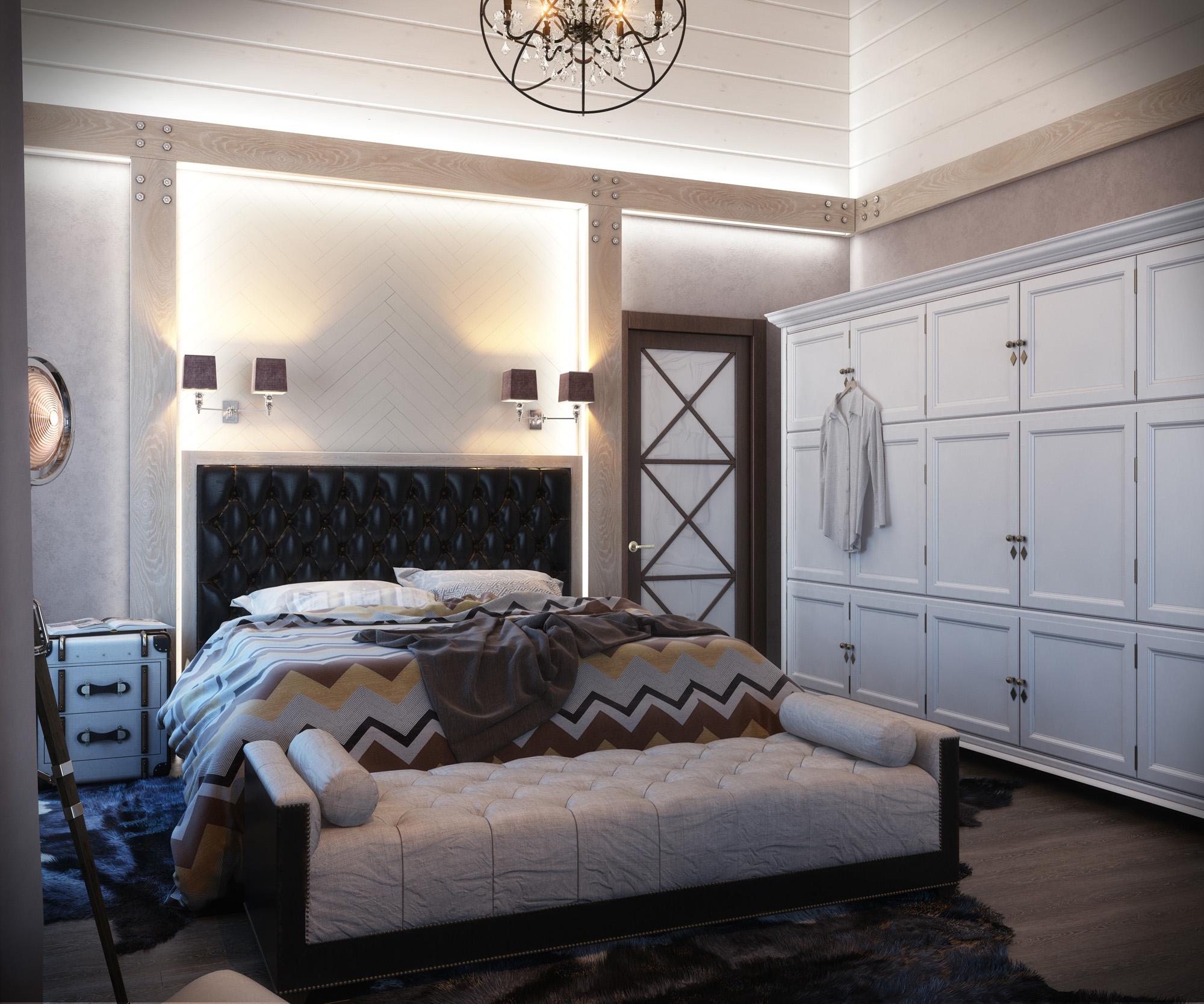 Спальня в загородном доме под Москвой
