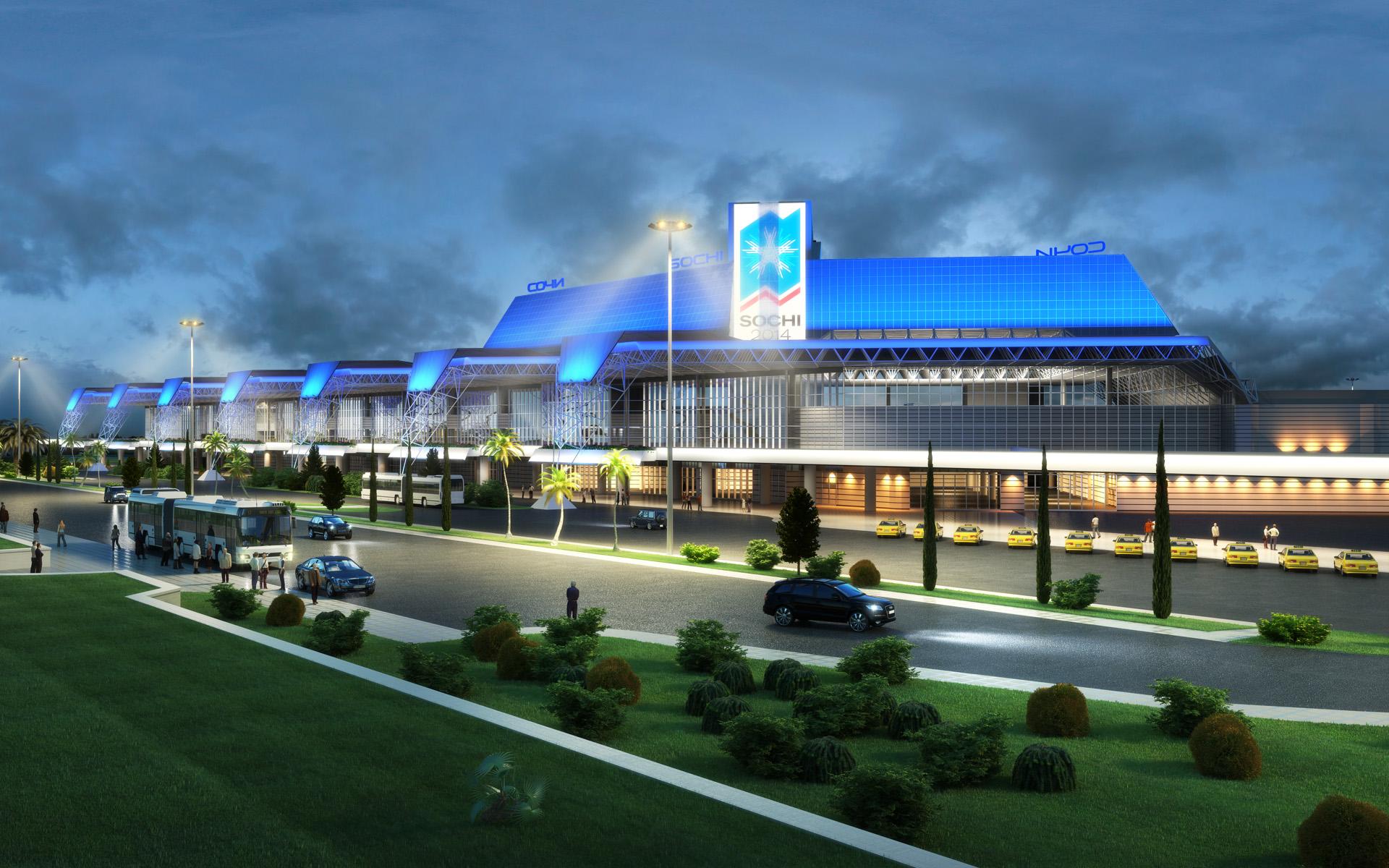Освещение аэропорта в Сочи (экстерьер)