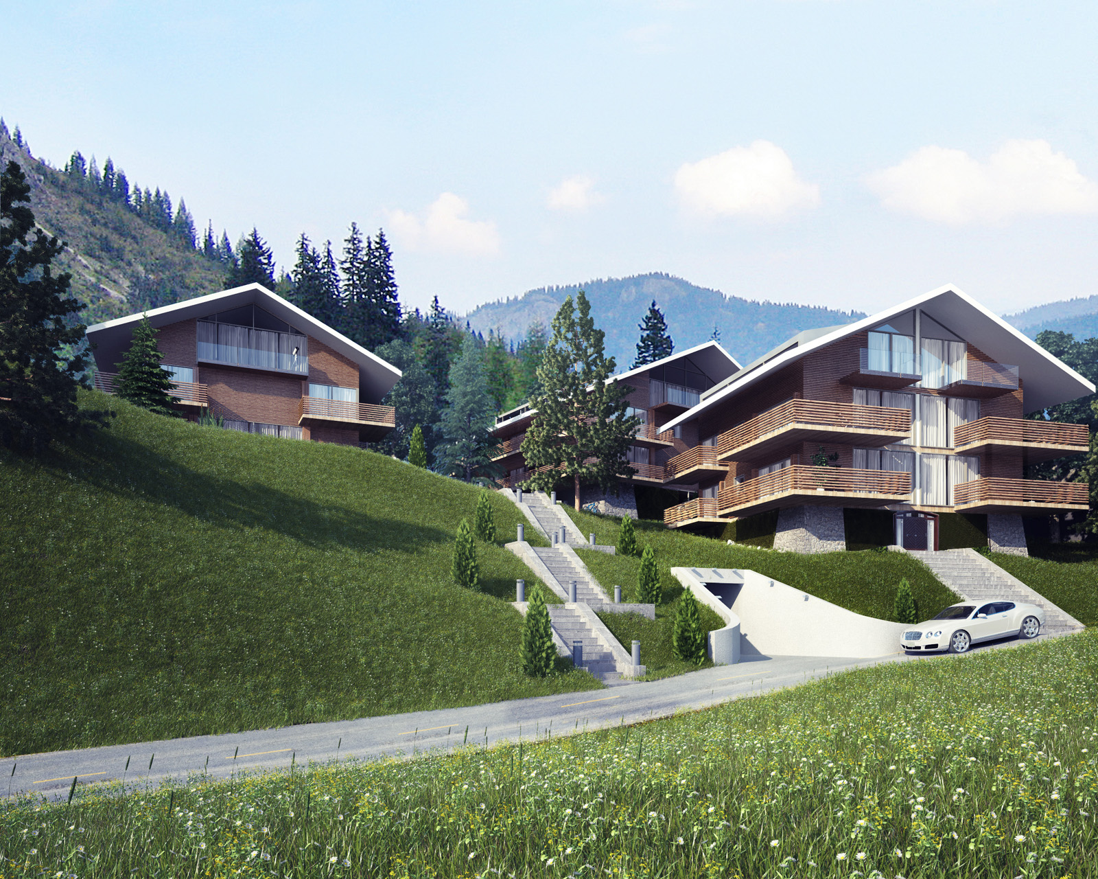 Поселок в Швейцарии. Вид1