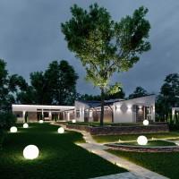 Архитектурное освещение дома с участком