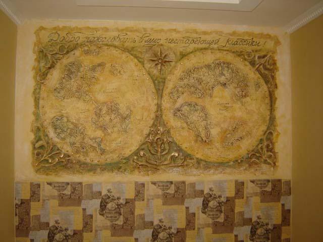 старинная карта, рельефная роспись