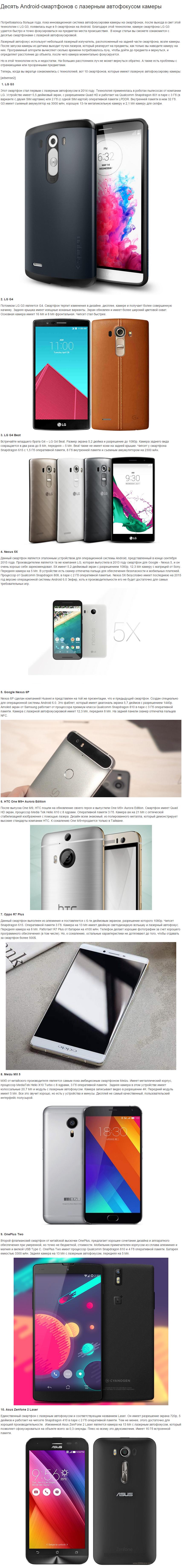 Десять Android-смартфонов с лазерным автофокусом камеры