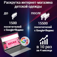 Продвижение магазина детской одежды, Москва и область, РФ