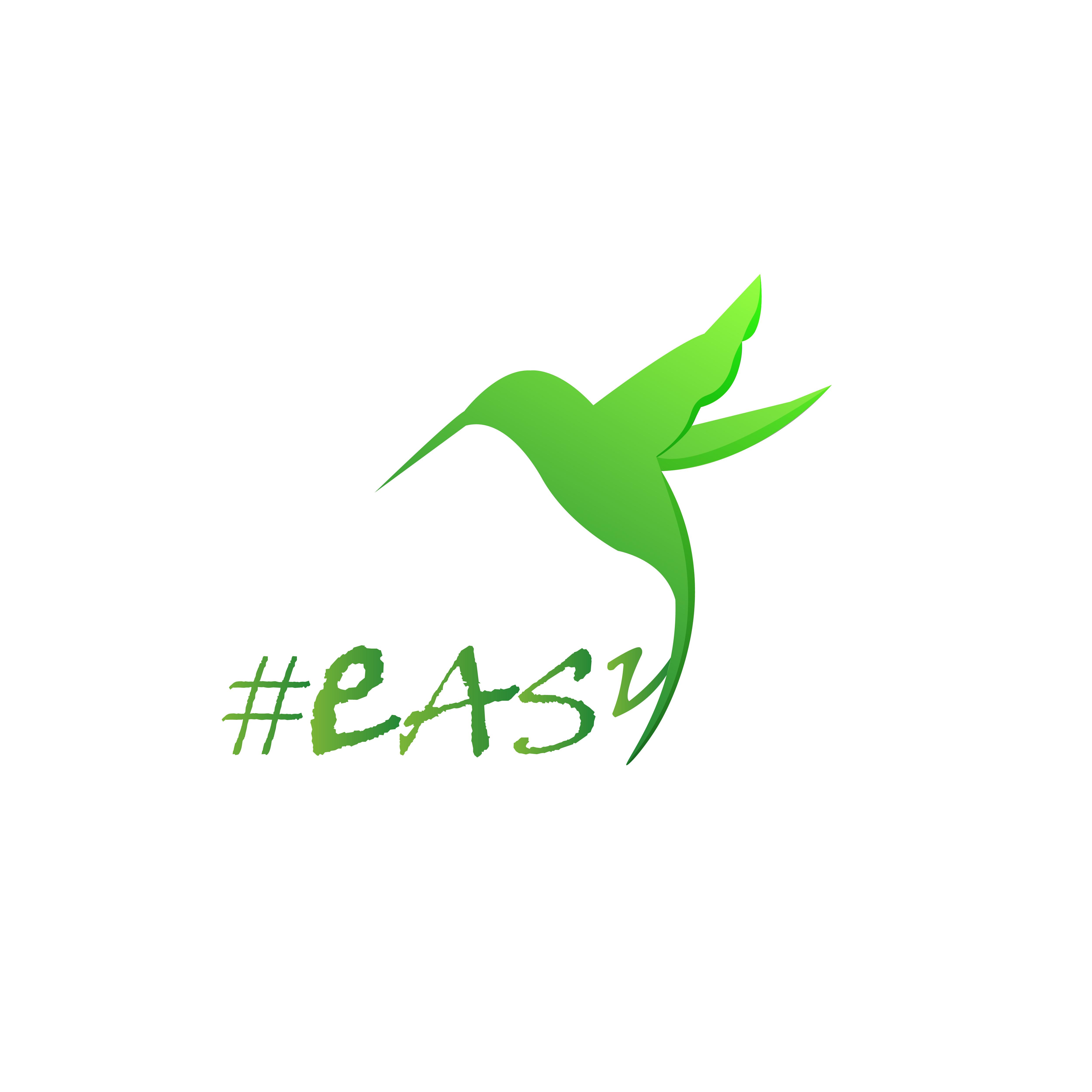 Разработка логотипа в виде хэштега #easy с зеленой колибри  фото f_6095d4faf1718ed0.jpg
