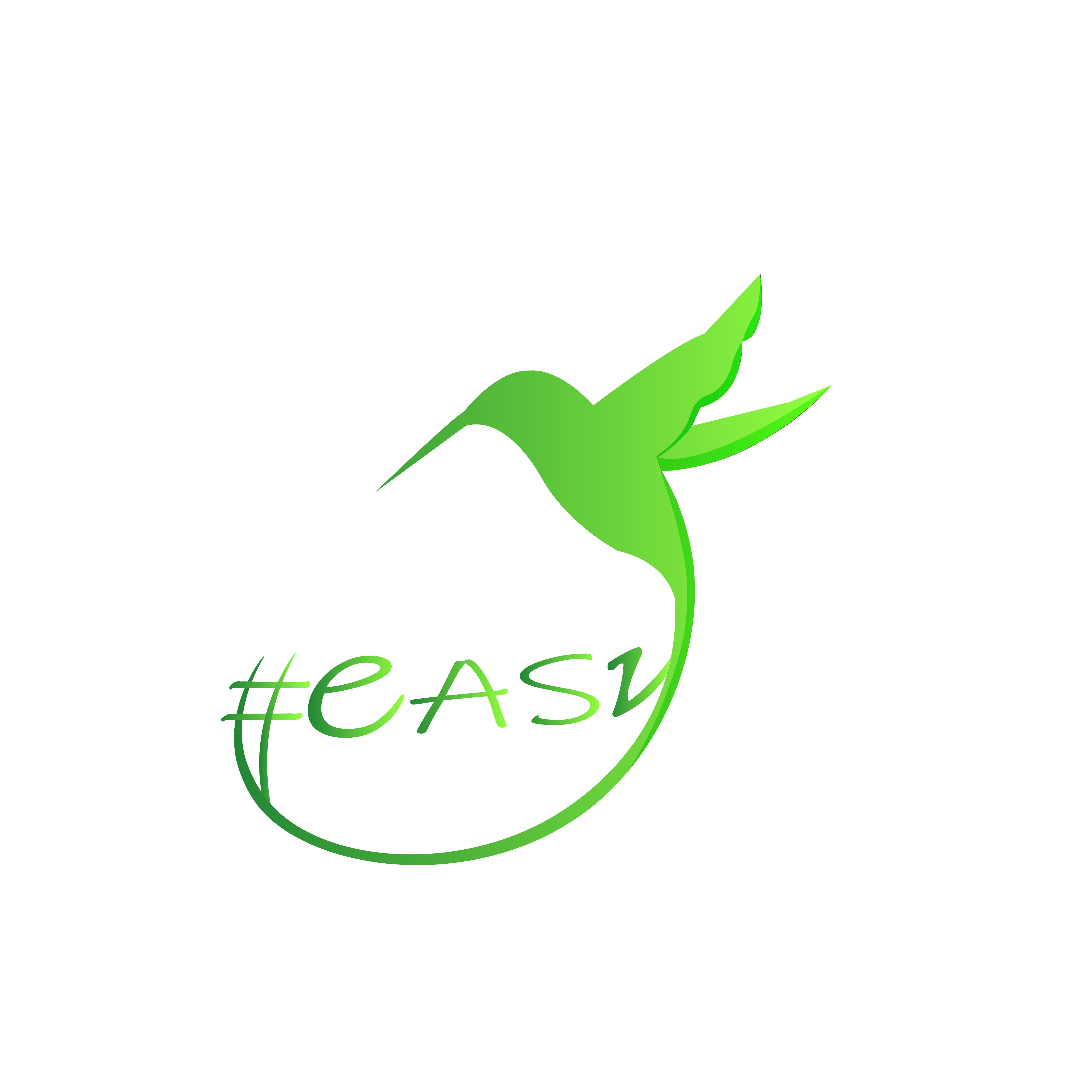 Разработка логотипа в виде хэштега #easy с зеленой колибри  фото f_9715d4faf2389fee.jpg