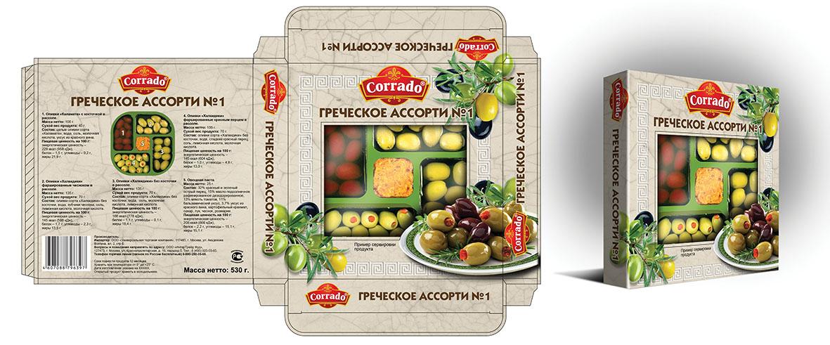 Компания Corrado, упаковка для оливок ассорти