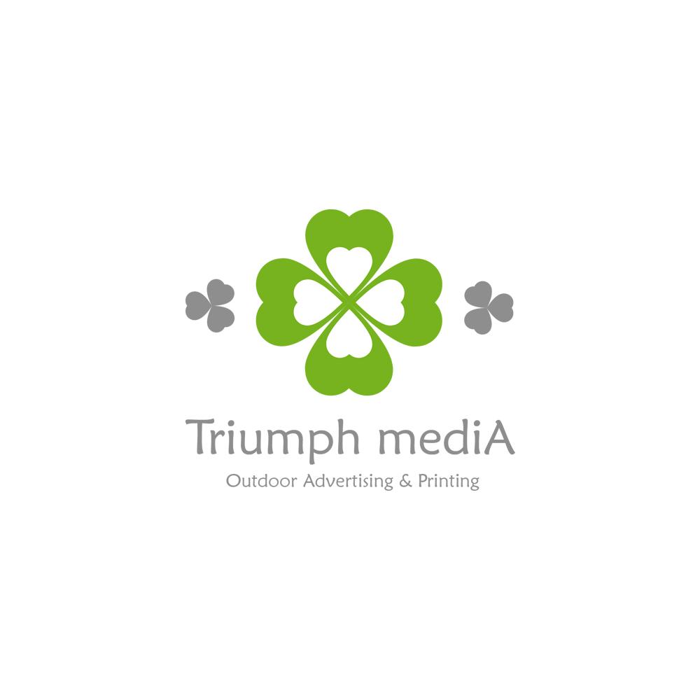 Разработка логотипа  TRIUMPH MEDIA с изображением клевера фото f_5073e54784673.jpg