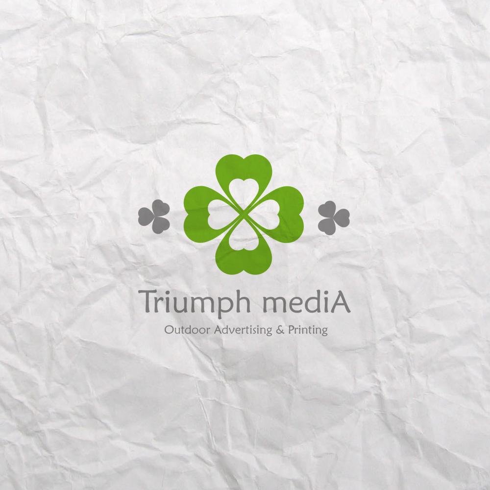 Разработка логотипа  TRIUMPH MEDIA с изображением клевера фото f_5073e5501c2f6.jpg