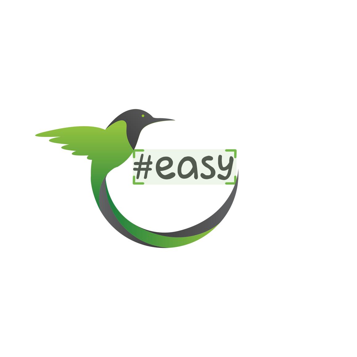 Разработка логотипа в виде хэштега #easy с зеленой колибри  фото f_1215d4d732c69278.png