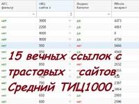 15 вечных ссылок с трастовых сайтов. Средний ТИЦ1000