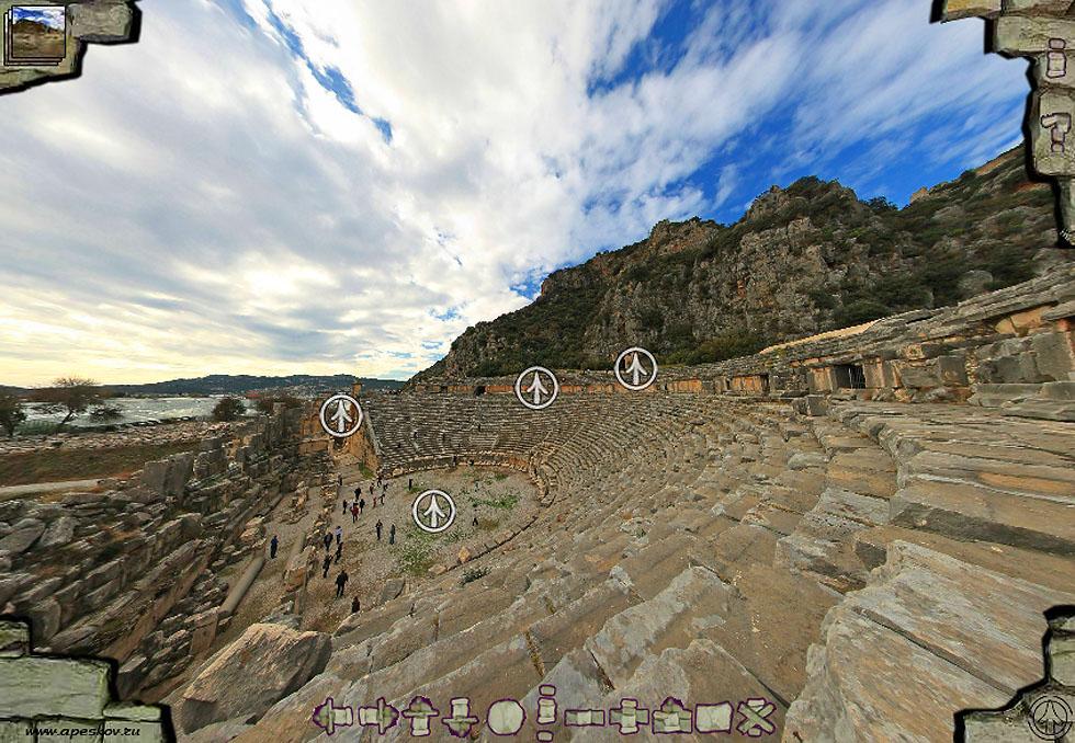Виртуальный тур по древнему городу Мире и ликийским гробницам в Демре.