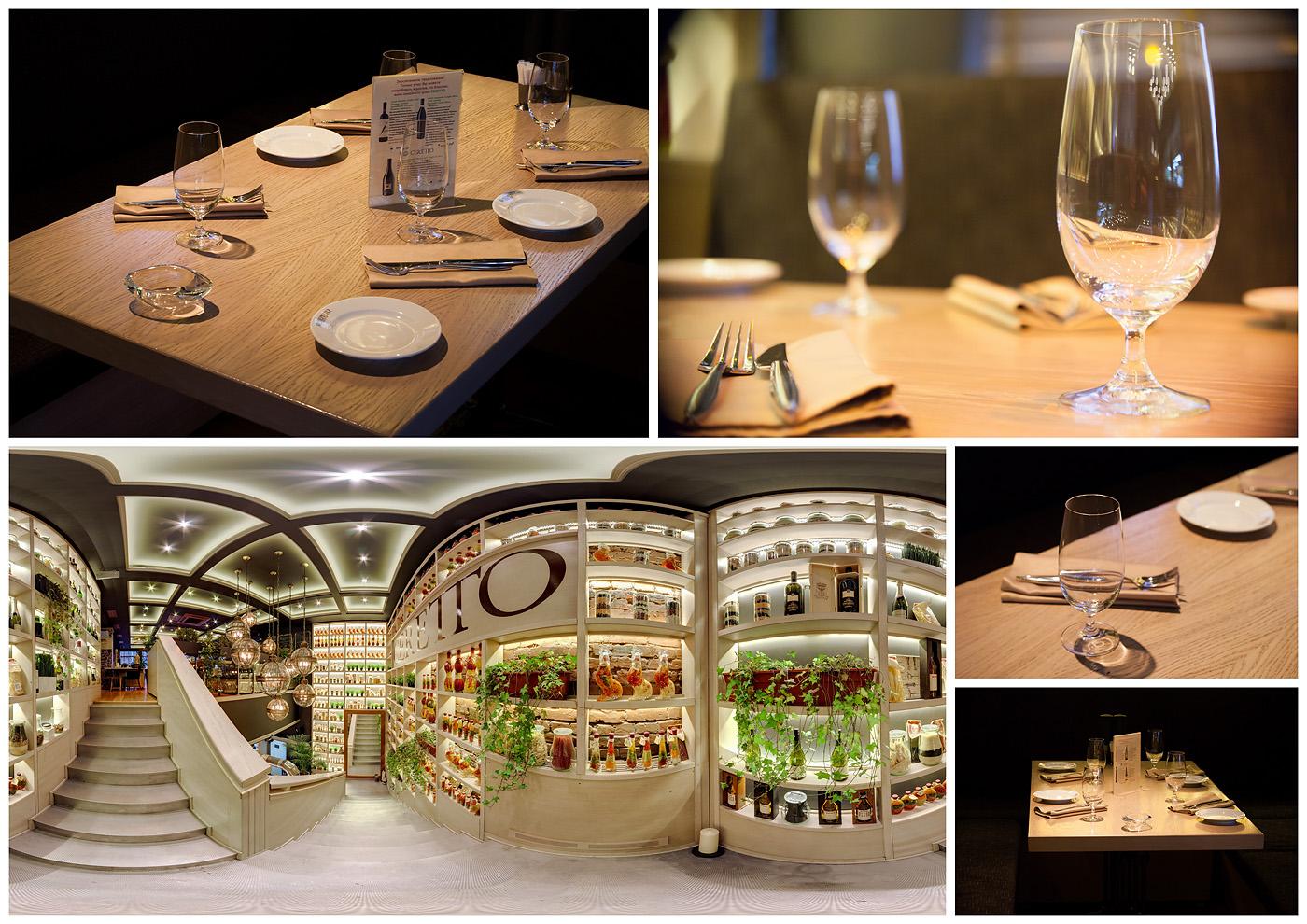 Панорамная, интерьерная съемка интерьеров ресторана Черетто, на Цветном Бульваре
