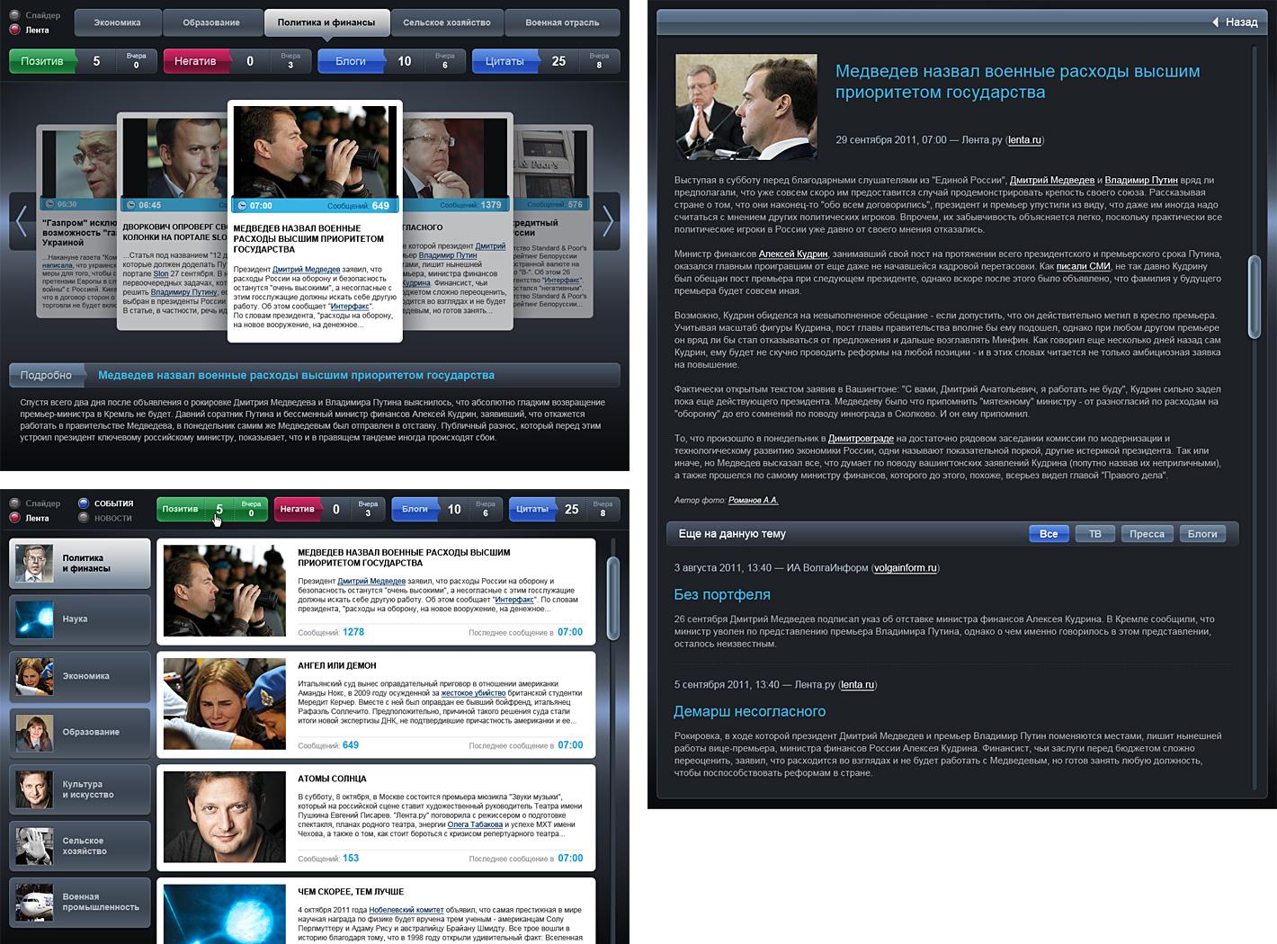Новостной интерфейс для сенсорного экрана