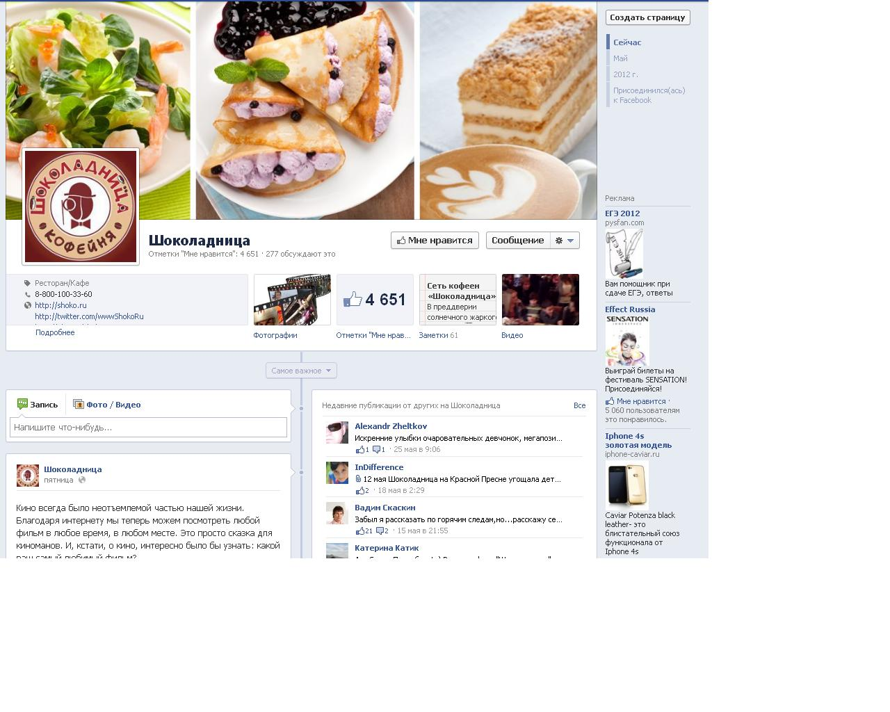 Продвижение Шоколадницы на facebook