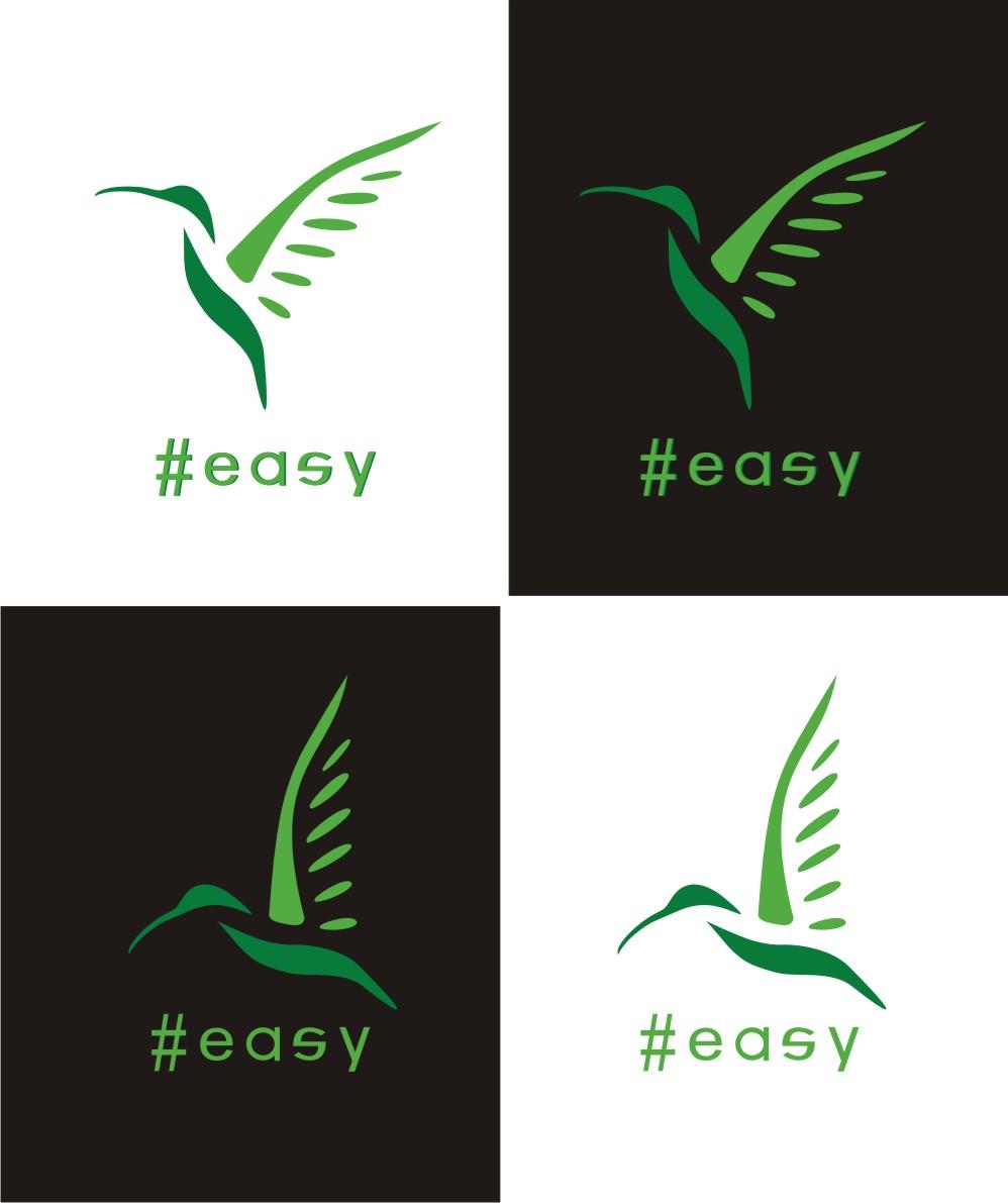 Разработка логотипа в виде хэштега #easy с зеленой колибри  фото f_6165d504119affd6.jpg