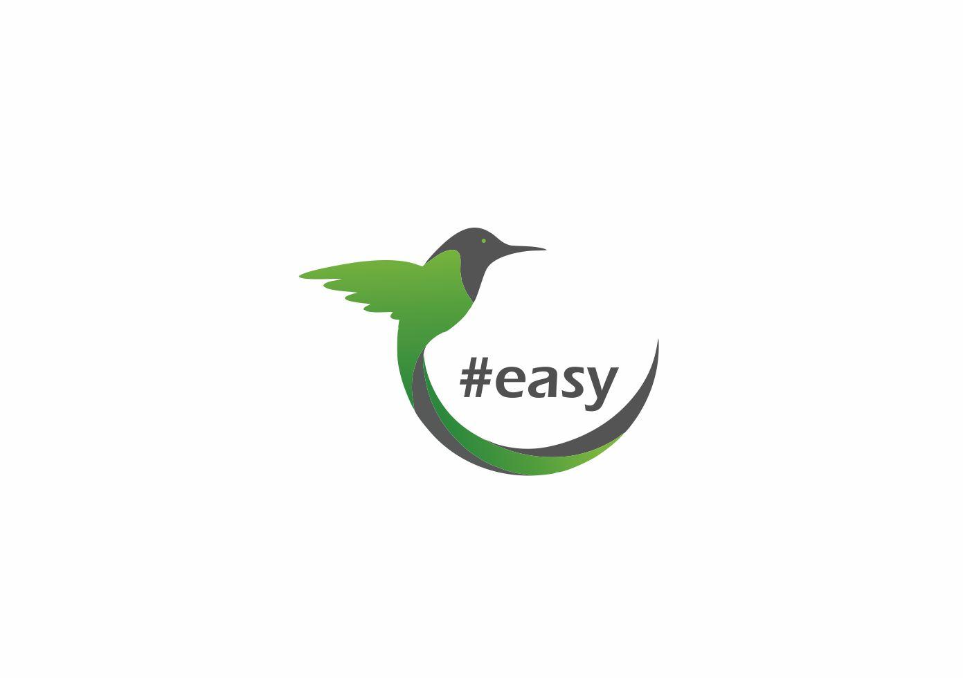 Разработка логотипа в виде хэштега #easy с зеленой колибри  фото f_3365d4eb88d9ec88.jpg