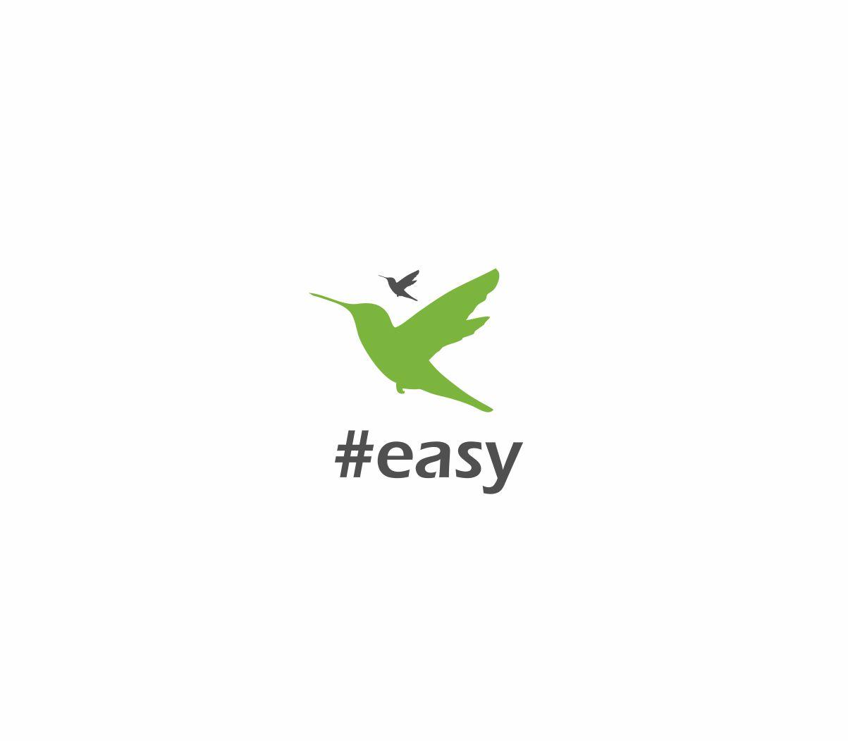 Разработка логотипа в виде хэштега #easy с зеленой колибри  фото f_5105d4eb75d0e92f.jpg