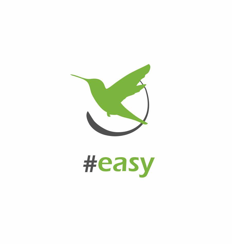 Разработка логотипа в виде хэштега #easy с зеленой колибри  фото f_7345d4eb2a490679.jpg