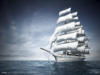 Визуализация корабля. Стилизованная иллюстрация