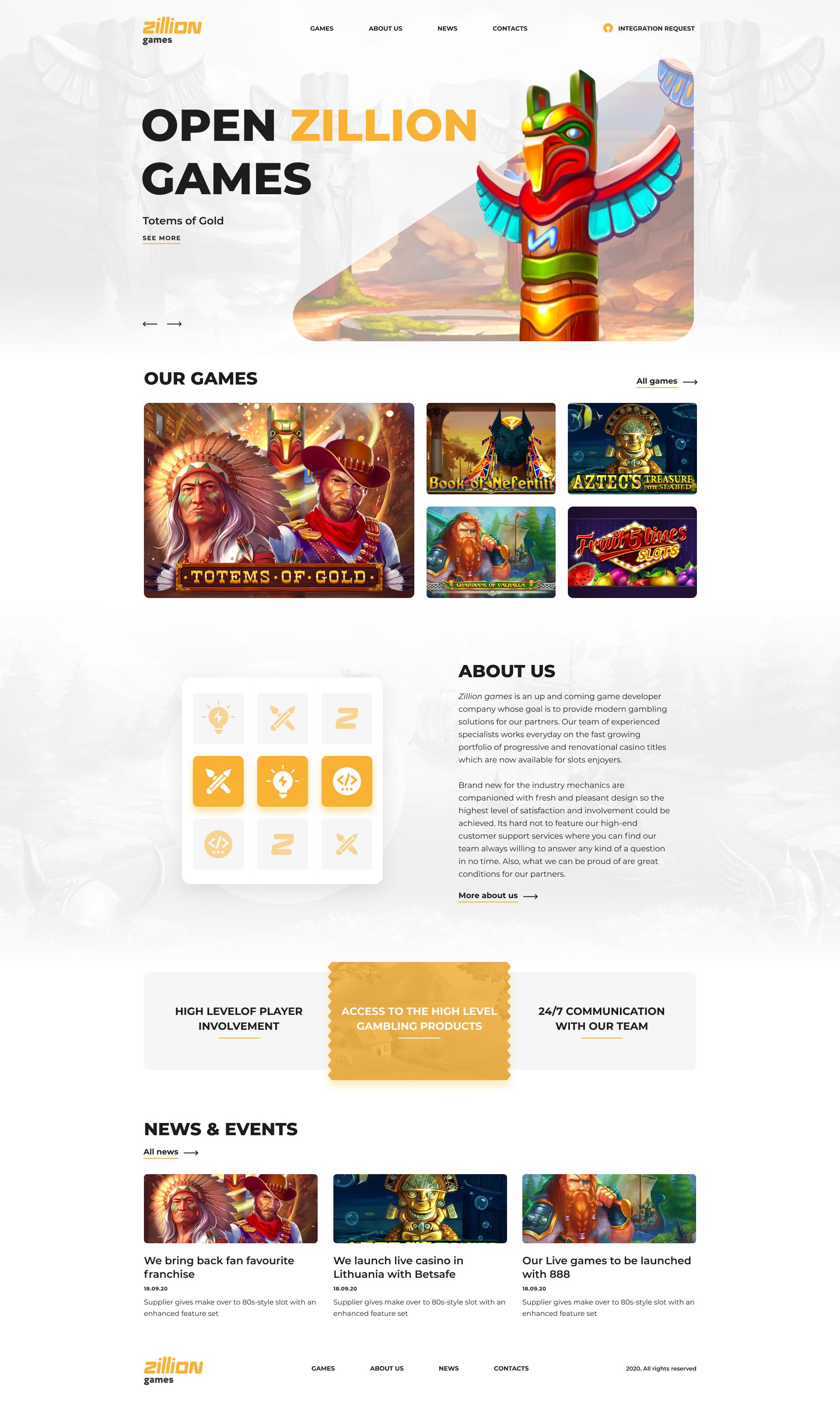 Корпоративный сайт разработчиков онлайн-слотов
